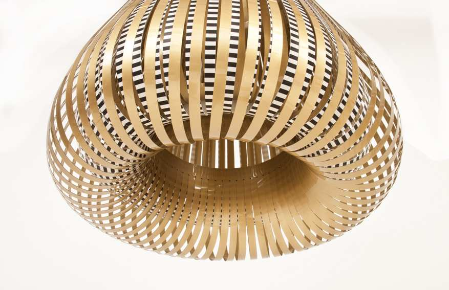 droplet, lamp, rond, bol, stroken, goud, gold, licht